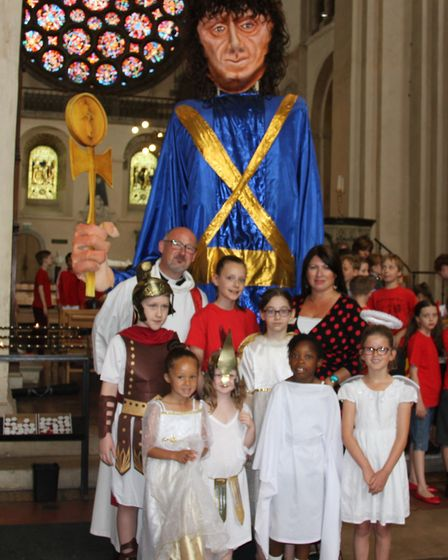Abbey Primary School pupils celebrate Alban Pilgrimage. Photo supplied by school.