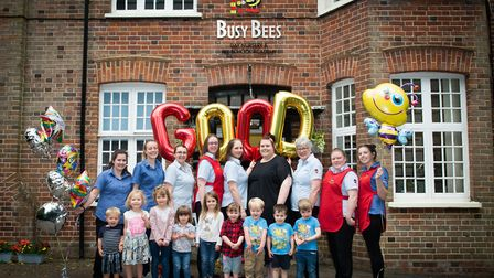 The team and the children at Busy Bees, Rothamsted Lodge, in Harpenden. Picture: JEREMY CHICHESTER-M