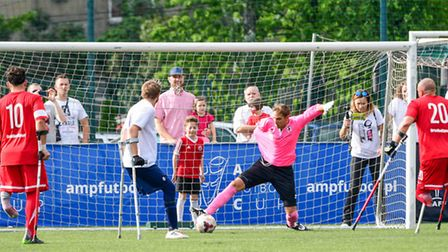 Gary Marheineke in action during the Amp Futbol Cup. Picture: LAJ PHOTOGRAPHY