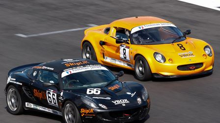Sam Tomlinson (car 66) battling with Alex Ball during the latest round of the Lotus Elise Trophy at