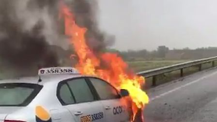 Firefighters attended car fire on the A1 near Brampton Hut
