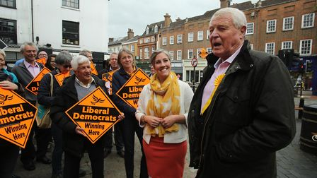 Paddy Ashdown addressing Lib Dem members outside St Albans Clock Tower, with Daisy Cooper to his rig