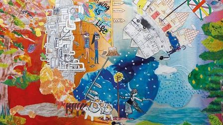 Artist Stacey Leigh Ross incorporated pictures from 20 schoolchildren to come up with the cover art