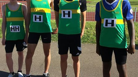 The successful Hunts AC 4-100m Under 15 Boys relay quartet are, from the left, Elliot Mortimer, Juli