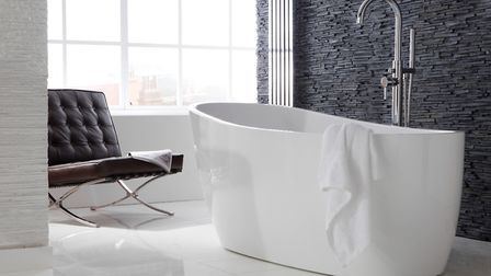 Pano luxury freestanding bath, £1,485 from Front Line Bathrooms. Also in picture: freestanding bath/