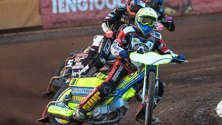 Kenneth Bjerre in action for his British club, Belle Vue Aces, earlier this season. Picture: IAN CHA