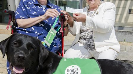 Councillor Sue Ellington, right, and honorary trustee for charity Dogs for Good Marie Carden with he