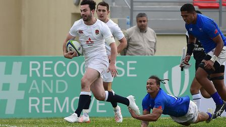 England's Dominic Morris breaks clear to score in their 74-13 win over Samoa in the U20 World Rugby