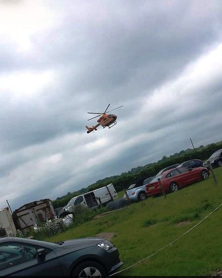 The Magpas air ambulance arrives at the scene in Hamerton. Picture: Jessica Russell