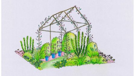 A sketch drawing of the students' initial design of their entry. Photo supplied by Oaklands College