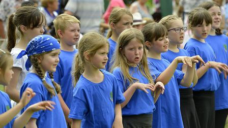 Kids singing and dancing from Ashbeach School.