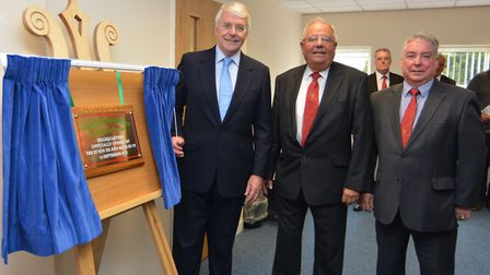 Mark Frost (right), along with Sir John Major (left) and Hunts FA chairman Maurice Armstrong (centre