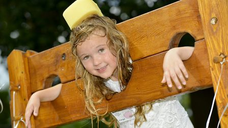 Cerys in the stocks at Little Paxton.