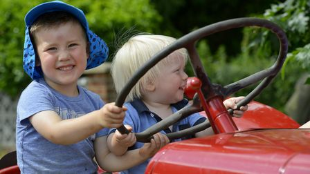 Youngsters enjoy the vintage tractor at Little Paxton