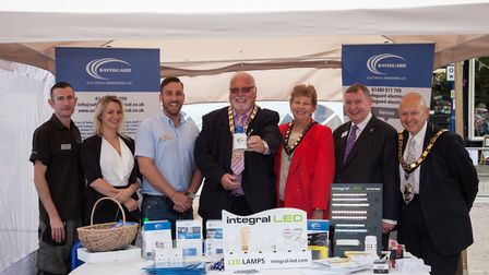 St Neots Town Council dignitaries with staff from electrical engineering company Safeguard
