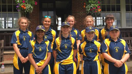 The Hunts Under 17 Girls team, who beat Northants, are back row, left to right,Megan Blackman, Ellie