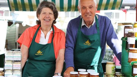 Stall helpers Gina Churchyard and Derek Hayden. Picture: Karyn Haddon