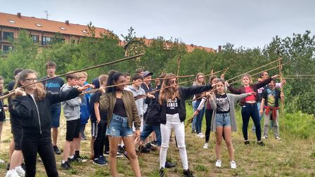 Melbourn VC students on their Spain trip learning how ancient people invented a way of throwing a sp