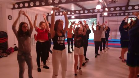The Melbourn Village College students learning Flamenco dancing.