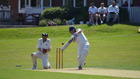 London Colney's captain Scott Hadley knocks one away through extra cover. Picture: MATTHEW BRISTOW