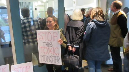 Demonstrator against proposed waste recycling plant in Hemingford Abbots