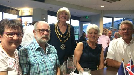 Royston town mayor Vera Swallow, centre, and twinning association chair, Elizabeth Freeman - second