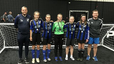 The St Ives Rangers Under 14 girls team who reached the semi-finals of the National Futsal Finals. P