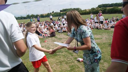 Assistant headteacher Zoe Andrews handed out trophies and certificates to those who took part in the