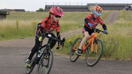 St Ives CC youngsters Ruby O'Dell (left) and Ralph Bicknell (right).