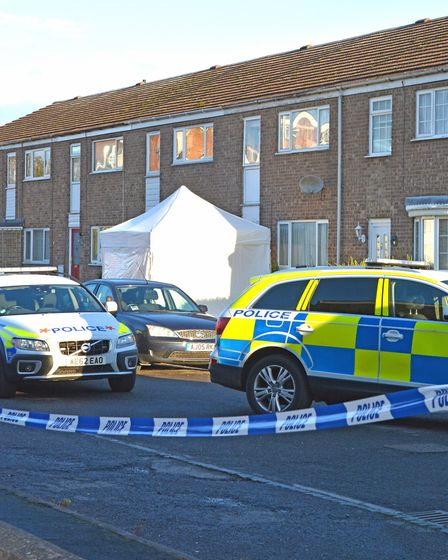 The scene of the shooting, in Duck Lane, St Neots.