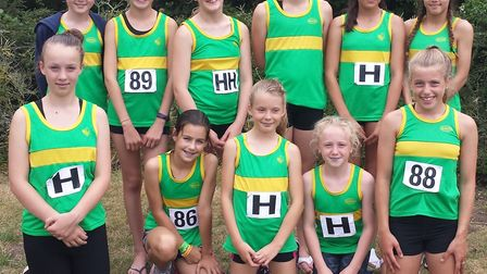 The Hunts AC Under 13 Girls squad are, back row, left to right, Alexandra Hill, Cerys Davis, Willow