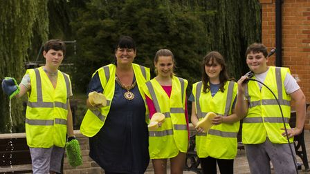 Councillor Sarah Conboy and members of Godmanchester Youth Council.