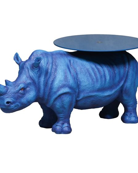 Electric blue rhino side table from Out There Interiors stands 65cms high. 375 www.outthereinteriors