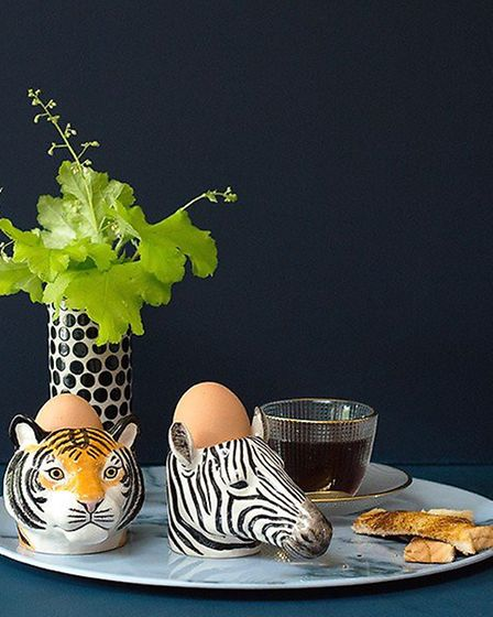 Zebra and Tiger egg cups from MiaFleur are hand painted, Eathenware and dishwasher safe. £10.95. www