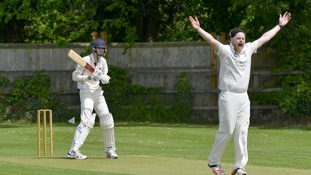 Mark Edwards celebrates taking a wicket against Waresley earlier this season. Yesterday he was a key