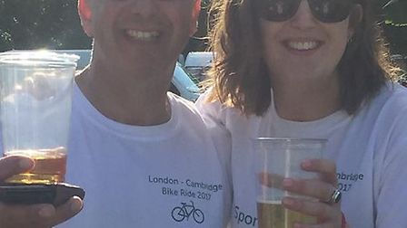 Claudio Segameglio with Amy Dear, team leaders of Amy's Army for their bike ride.