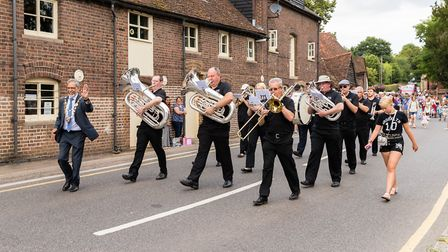 Start of the parade, and the Brass Band. Wheathampstead High Street. Picture: Simon Jenkins