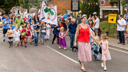 Families taking part in the parade. Wheathampstead High Street. Picture: Simon Jenkins