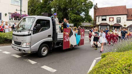 The Swan's Float with local's some in Fancy Dress. Wheathampstead High Street. Picture: Simon Jenkin