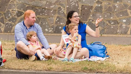 Young Family enjoying the parade. Wheathampstead High Street. Picture: Simon Jenkins