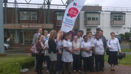 Nurses and healthcare assistants gathered at Hinchingbrooke Hospital for a 'picnic for pay'