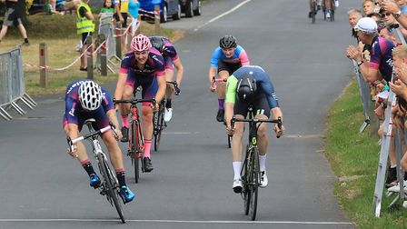Marcel Six wins the senior race at the Fete du Velo with Clay Davies third and Paul McGrath fourth.