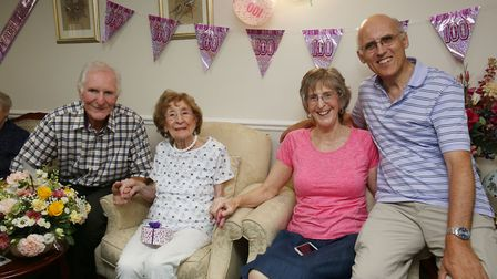 Ora Tydeman celebrates her 100th birthday with family at Kennedy Court care home. (L-R) Bob Tydeman,
