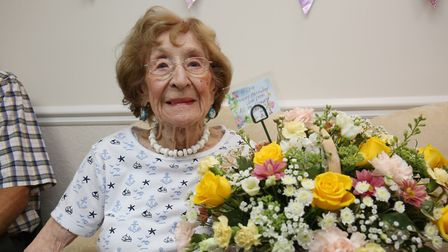 Ora Tydeman celebrates her 100th birthday with friends and family at Kennedy Court care home. Pictur