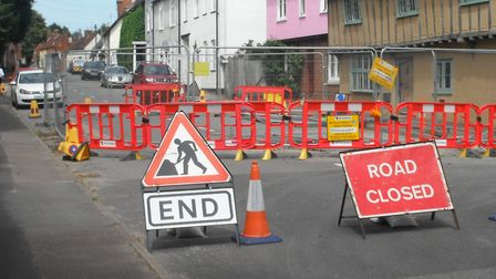 The work has completely blocked High Street in Barkway.
