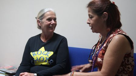 Kate Clarke with one of the nurses who looked after her father.
