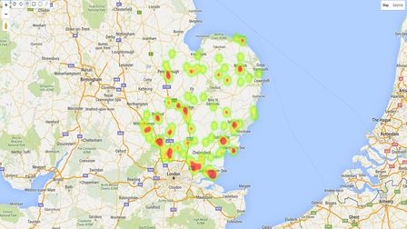 The knotweed heat map for the East of England