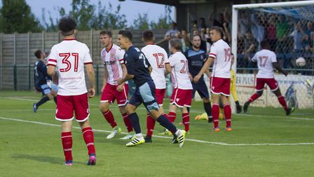 The ball nestles in the net as St Neots go ahead against Stevenage. Picture: CLAIRE HOWES