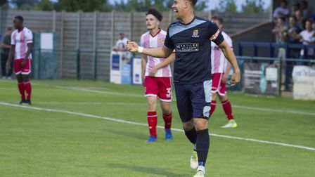 Liam McDevitt celebrates his St Neots Town equaliser. Picture: CLAIRE HOWES
