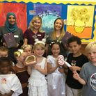 Dental experts Ola, Anna, Melissa with schoolchildren from Abbey Primary School. Picture: ABBEY PRIM
